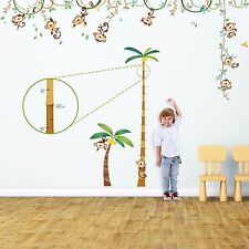Decowall Monkey Height Chart Nursery Removable Wall Stickers Decal DA-1507P1607