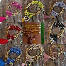 Pulseras de cristal y chapa 14k  lote 20 pzs / Joyeria Artesanal Mexicana.