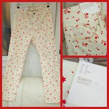 Femme h&m Pantalon Taille 14 EU42 crème, rouge, motif FLORAL, Capri, Chino, cropped Leg