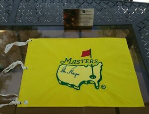 """HOLY GRAIL SIGNED GARY PLAYER 1997 MASTERS FLAG """"TIGERS FIRST WIN"""" GAI CERTIFIED"""