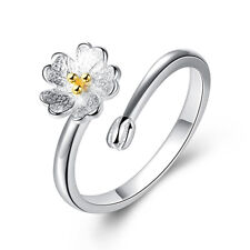 925 Silver Women Girl Gold Flower Adjustable Ring Fashion Jewelry Size 7