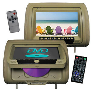 "TVIEW T939DVPL-TN Tview 9"" Headrest Monitor with DVD Player Sold in Pairs Tan"