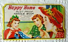 Vintage Very Colorful Happy Home Rust Proof Needle Book Nickel Plated Needles