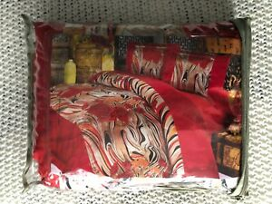 Multicolored Tiger Striped Bedding w/ Full Duvet Cover& Pillow Case& Flat Sheet