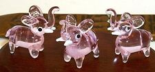 "Elephant PINK ArtGlass figurines 1"" MINI same size TrunkUp Elephant 6 pc.box lot"