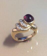 WOMAN'S 14K YELLOW GOLD RING, RED TOURMALINE RUBELITE, 11 DIAMONDS, SZ 7, BRAM
