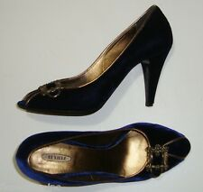 GORGEOUS LESILLA ROYAL BLUE VELVET&ANTIQUE GOLD PRINCESS HEELS 41 MADE IN ITALY