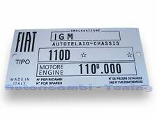 TARGHETTA RIASSUNTIVA DATI FIAT 500D 110D TELAIO MOTORE C276