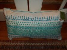 NWT Celerie by Celerie Kemble White Aqua Beaded Oblong Decorative Pillow