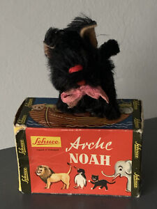 "RARE ANTIQUE MINI BLACK 3"" MOHAIR SCHUCO SCOTTIE SCOTTISH TERRIER DOG W/BOX!"
