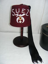 Vintage Suez Fez Masonic Shriners Cap Hat with Hard Case & 2 Tassels Rhinestones
