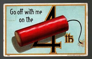 Go Off With Me On The 4th of July, Firecracker, 1908 Julius Bien postcard