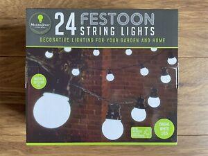 BRAND NEW 24 FESTOON STRING LIGHTS FOR GARDEN & HOME - BRIGHT WHITE LEDS
