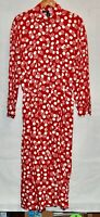 Vintage America Perry Ellis Long Dress Red White Anchor Nautical Gown LS 14
