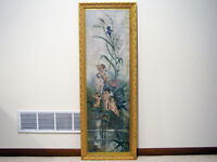 #1 LARGE Antique OIL ON CANVAS PAINTING - CHERUBS PLAYING IN FLOWERS