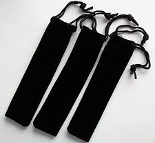 3 X BLACK DRAW STRING VELVET PEN SLEEVE / POUCH, BRAND NEW