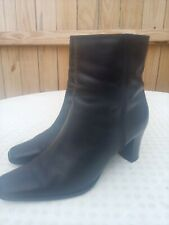 A.N.A A New Approach Ankle Boots Sz 9 M Black Leather Heeled Zipper