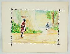 Colorful Haitian Original Watercolor by Joseph Thony Moise Two Women