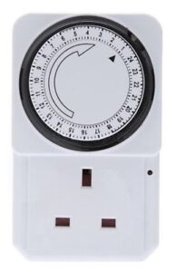 24 HOUR ELECTRICAL PLUG-IN TIMER SWITCH LOCK SOCKET 24HR TIMER, 3 PIN ADAPTER