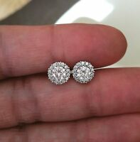 2.50Ct Round Cut Simulated Moissanite Diamond Stud Earrings 14k White Gold Over