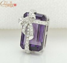 LADIES 14k Gold 5.21ctw Flawless Purple Amethyst Diamond Pendant Gift