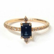 2 Ct Emerald Cut Sapphire Simulant Diamond Solitaire Ring Yellow Gold Fns Silver