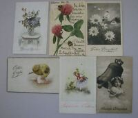 Postcard Vintage German Happy Easter and Pentecost Post Card 1903-1939 Lot of 6