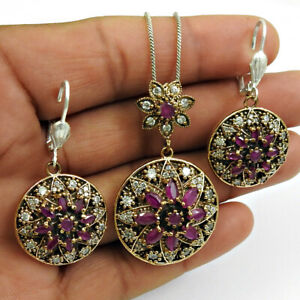 Natural Ruby CZ Earring Pendant 925 Sterling Silver Turkish Jewelry Set RS40