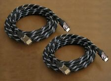 2 Pack - 25FT 4K HDMI 1.4 HD 3D 1080P High Speed Net Jacket Braided Gold Cable