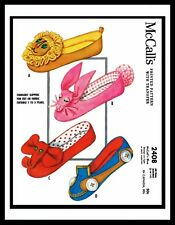 McCalls 2408 SLIPPER Fabric Sewing PATTERN GIRL Childs KIDS BABY Toddler Bunny +