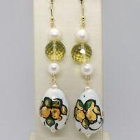 Ohrringe aus Gold Gelb 750 18K mit Perlen und Tropf Bemalt Hand Made in Italien
