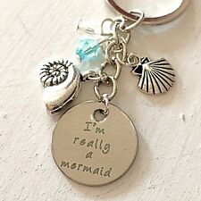 I'm Really a Mermaid Silver Charm Keychain Gift for Beach & Ocean Lovers