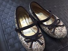 Brown Sequin SHOES 8 Toddler slip-on Dressy Fall School Sparkly BTS