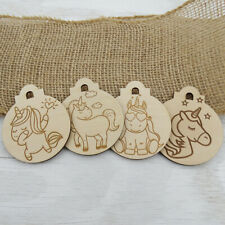 Unicorn Wood Ornaments Set of 4 - Engraved DIY Painting Coloring Decorate Gift