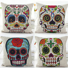 4 PCS Mexican Day of the Dead Sugar Skull Linen Pillow Case Cushion Cover Y4NSZY