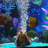 Aquarium Volcano Shape & Air Bubble Stone Oxygen Pump Ornament Fish Tank Decor