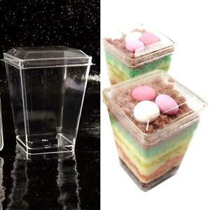 100x  Clear Dessert Cups Canape Dishes & Lids LARGE 5oz 6oz Disposable Plastic