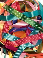 10 Meters Wide Satin Ribbon Off Cuts Bundle Assorted Colours Plain & Polka dots