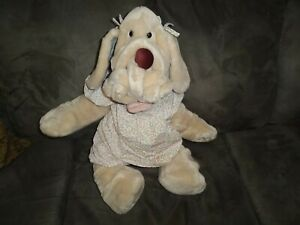 """Vtg 1981 Ganzbros Wrinkles Dog Hand Puppet Plush Girl Jumbo 28"""" Dress bloomer"""