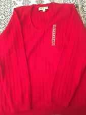 TOMMY HILFIGER womens size 1X Red long sleeve cable knit v-neck sweater