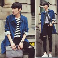 Men's Fashion Trench Coat Jacket Denim Long Coat Casual Loose Korean Slim