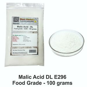 100g - Malic Acid DL - Food grade - E296 - C4H6O5 - Wine acid