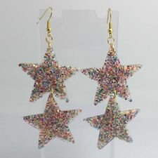 Double Gold Rainbow Huge Star Glitter Acrylic Earrings D204 Kitsch 7.5cm Long