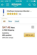 NIB Chefman 300 Watt Hand Blender Royal Blue
