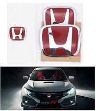 3PCS SET JDM Red H Emblem Front Rear Steering Fit For 2018-2020 HONDA ACCORD 4DR