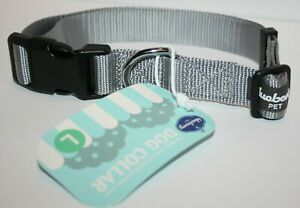 Blueberry Pet Classic Solid Color Nylon Dog Collar - Gray Large