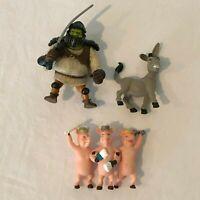 Shrek 2 Action Figure Toy Set Lot Shrek Donkey 3 Pigs 2004 Dreamworks Hasbro