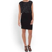 ERIN FETHERSTON Women's Size 6 Black Dress Sleeveless Sequin Fitted Occasion