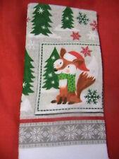 VINTAGE FOX~PINES~SNOWFLAKES~WINTR~1 whole kitchen bath cottage cabin shop towel