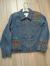 Susan Bristol Women Embroidered Blue Denim Snap Closure Jean Jacket       Size S